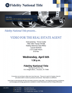 CE video class 4_6_16 fidelity National Title, The Laird Law Firm, 1512 heights Blvd, Houston, TX 77008, Letty Nehls, Jeff Laird, MCE, CE, education, video for the real estate agent, technology, Houston Heights