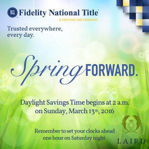Spring forward, Houston heights, Title company, 77008, Fidelity National Title, Closing, Escrow, The Laird Law Firm, Letty Nehls,